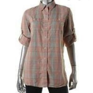 LRL Lauren Jeans Co. Plaid Roll-Over Sleeve Top